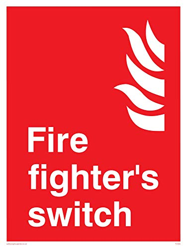 "Viking Signs FV355-A3P-1M ""Fire Fighter's Switch"" Sign, 1 mm Plastic Semi-Rigid, 300 mm H x 400 mm W from Viking Signs"