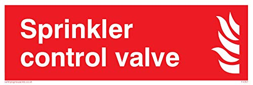 "Viking Signs FV357-L15-1M ""Sprinkler Control Valve"" Sign, 1 mm Plastic Semi-Rigid, 150 mm H x 50 mm W from Viking Signs"