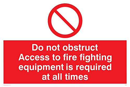 "Viking Signs FV364-A4L-1M ""Do Not Obstruct Access To Fire Fighting Equipment Is Required At All Times"" Sign, 1 mm Plastic Semi-Rigid, 300 mm H x 200 mm W from Viking Signs"
