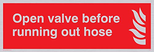 "Viking Signs FV371-L15-SV""Open Valve Before Running Out Hose"" Sign, Silver, Vinyl, 50 mm H x 150 mm W from Viking Signs"