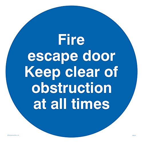 "Viking Signs MA225-S40-3M""Fire Escape Door Keep Clear Of Obstruction At All Times"" Sign, 3 mm Plastic Rigid, 400 mm H x 400 mm W from Viking Signs"