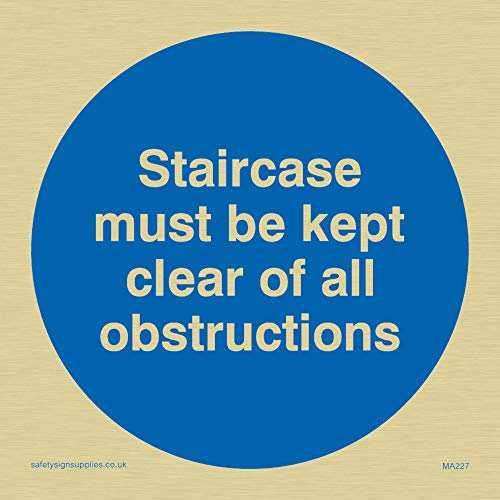 "Viking Signs MA227-S85-G ""Staircase Must Be Kept Clear Of All Obstructions"" Sign, Rigid Gold Plastic, 85 mm H x 85 mm W from Viking Signs"