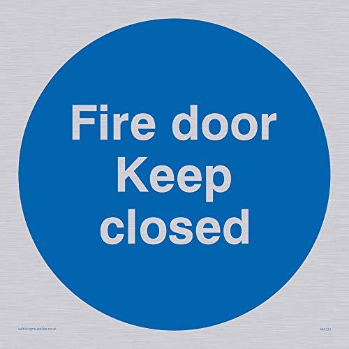 "Viking Signs MA231-S15-S ""Fire Door Keep Closed"" Sign, Rigid Silver Plastic, 150 mm H x 150 mm W from Viking Signs"