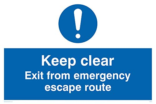 "Viking Signs MA233-A2L-3D ""Keep Clear Exit From Emergency Escape Route"" Sign, 3 mm Double Sided Rigid PVC, 400 mm H x 600 mm W from Viking Signs"