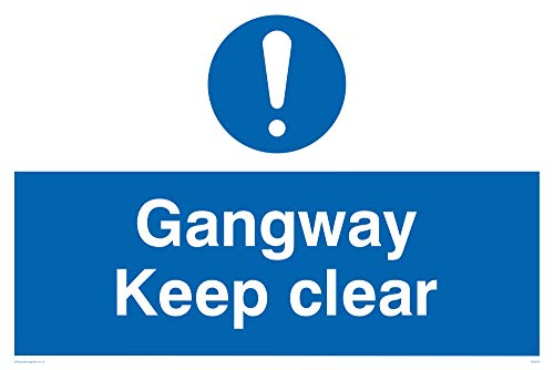 "Viking Signs MA234-A2L-AC""Gangway Keep Clear"" Sign, Aluminium Composite, 400 mm H x 600 mm W from Viking Signs"