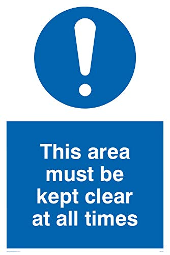 "Viking Signs MA237-A2P-3M""This Area Must Be Kept Clear At All Times"" Sign, 3 mm Plastic Rigid, 600 mm H x 400 mm W from Viking Signs"