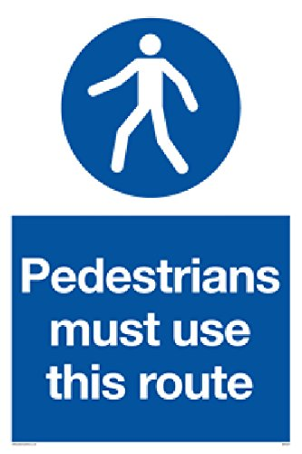 "Viking Signs MA5327-A1P-AC""Pedestrians Must Use This Route"" Sign, Aluminium Composite, 800 mm H x 600 mm W from Viking Signs"