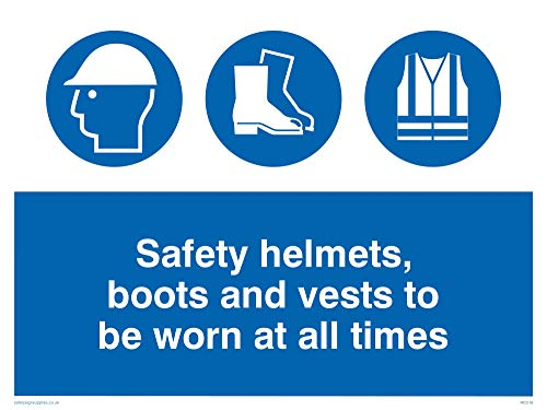 "Viking Signs MC516-A3L-1M""Safety Helmets, Boots And Vests To Be Worn At All Times"" Sign, 1 mm Plastic Semi-Rigid, 300 mm H x 400 mm W from Viking Signs"