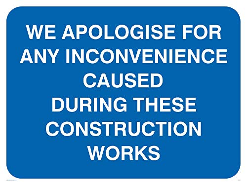 "Viking Signs MC521-A3L-3M""We Apologise For Any Inconvenience Caused During These Construction Works"" Sign, 3 mm Plastic Rigid, 300 mm H x 400 mm W from Viking Signs"