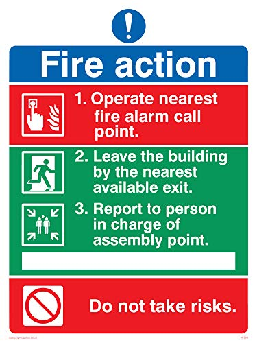 Viking Signs MF328-A5P-1M Pictorial Fire Action No Lifts Sign, Plastic, 1 mm Semi-Rigid, 200 mm H x 150 mm W from Viking Signs