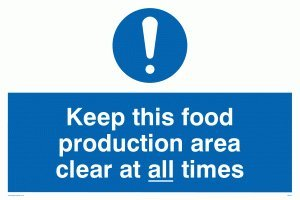 "Viking Signs MH207-A2L-3M ""Keep This Food Production Area Clean At All Times"" Sign, 3 mm Rigid Plastic, 400 mm H x 600 mm W from Viking Signs"