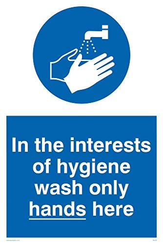 "Viking Signs MH209-A4P-V ""In The Interests Of Hygiene Wash Only Hands Here"" Sign, Vinyl, 300 mm H x 200 mm W from Viking Signs"