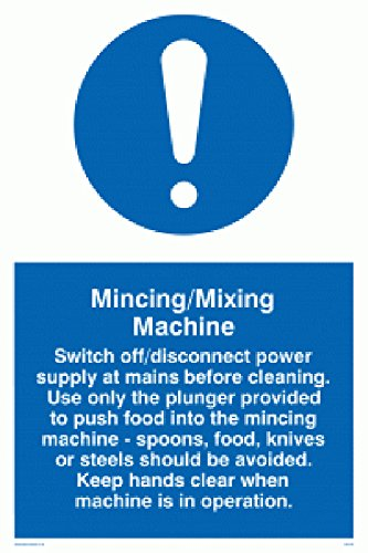 Viking Signs MM190-A4P-V Mincing/Mixing Machine Rules Sign, Vinyl, 300 mm x 200 mm from Viking Signs