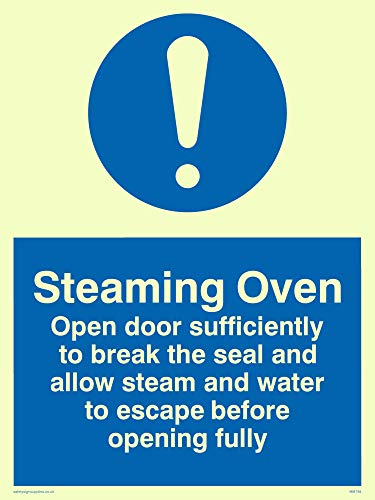 "Viking Signs MM194-A5P-PV""Steaming Oven Open Door Sufficiently To Break The Seal Etc."" Sign, Photo luminescent Sticker, 200 mm H x 150 mm W from Viking Signs"