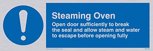 "Viking Signs MM194-L15-SV""Steaming Oven Open Door Sufficiently To Break The Seal Etc."" Sign, Silver Vinyl, 50 mm H x 150 mm W from Viking Signs"