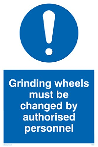 "Viking Signs MM5602-A2P-3M""Grinding Wheels Must Be Changed By Authorised Personnel"" Sign, 3 mm Rigid Plastic, 600 mm H x 400 mm W from Viking Signs"
