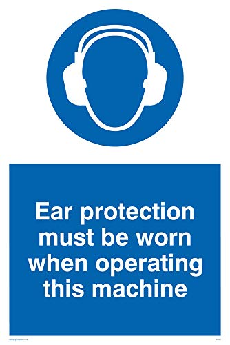 "Viking Signs MP262-A4P-1M ""Ear Protection Must Be Worn When Operating This Machine"" Sign, 1 mm Semi-Rigid Plastic, 300 mm H x 200 mm W from Viking Signs"