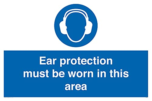 "Viking Signs MP264-A2L-V""Ear Protection Must Be Worn In This Area"" Sign, Vinyl, 400 mm H x 600 mm W from Viking Signs"