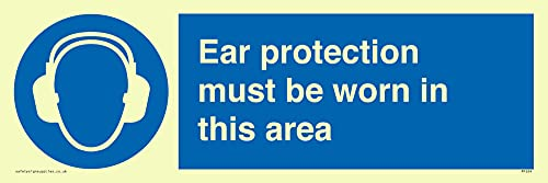 "Viking Signs MP264-L31-P ""Ear Protection Must Be Worn In This Area"" Sign, Semi-Rigid Photoluminescent Plastic, 100 mm H x 300 mm W from Viking Signs"