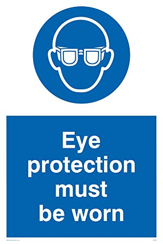 "Viking Signs MP281-A4P-1M ""Eye Protection Must Be Worn"" Sign, 1 mm Semi-Rigid Plastic, 300 mm H x 200 mm W from Viking Signs"