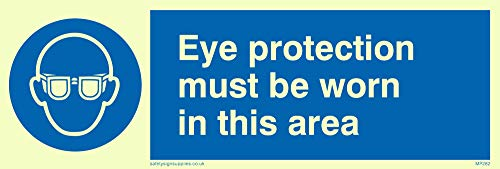"Viking Signs MP282-L15-PV""Eye Protection Must Be Worn In This Area"" Sign, Photo luminescent Sticker, 50 mm H x 150 mm W from Viking Signs"