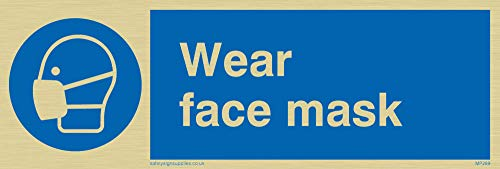 "Viking Signs MP289-L15-G ""Wear Face Mask"" Sign, Rigid Gold Plastic, 50 mm H x 150 mm W from Viking Signs"