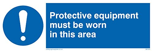 "Viking Signs MP293-L15-1M ""Protective Equipment Must Be Worn In This Area"" Sign, 1 mm Semi-Rigid Plastic, 50 mm H x 150 mm W from Viking Signs"