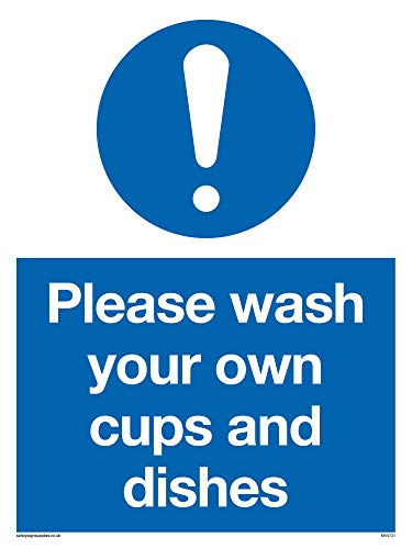 "Viking Signs MV5731-A5P-3M""Please Wash Your Own Cups And Dishes"" Sign, Plastic, 3 mm Rigid, 200 mm H x 150 mm W from Viking Signs"