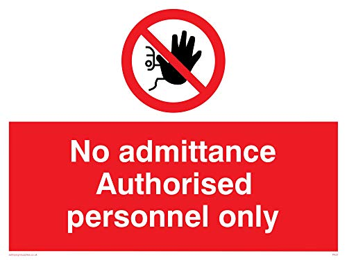 "Viking Signs PA31-A1L-AC""No Admittance Authorised Personnel Only"" Sign, Aluminium Composite, 600 mm H x 800 mm W from Viking Signs"