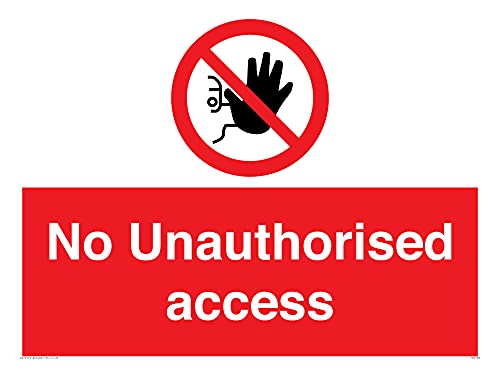 "Viking Signs PA5590-A3L-1M""No Unauthorised Access"" Sign, 1 mm Semi-Rigid Plastic, 300 mm H x 400 mm W from Viking Signs"