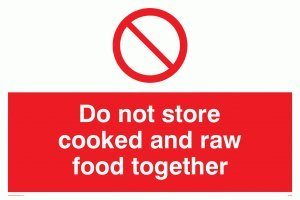 "Viking Signs PH208-A3L-3D""Do Not Store Cooked And Raw Food Together"" Sign, 3 mm Rigid Double Sided PVC, 300 mm H x 400 mm W from Viking Signs"