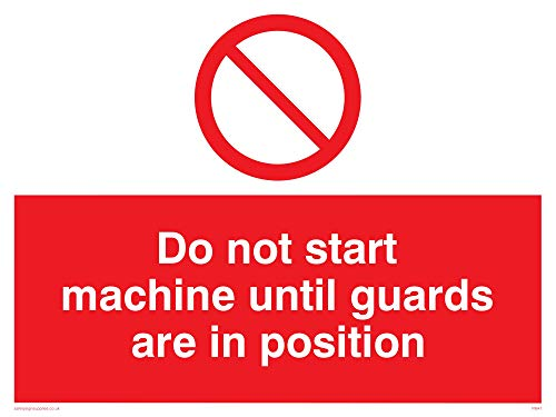 "Viking Signs PM41-A1L-3D""Do Not Start Machine Until Guards Are In Position"" Sign, 3 mm Rigid Double Sided PVC, 600 mm H x 800 mm W from Viking Signs"