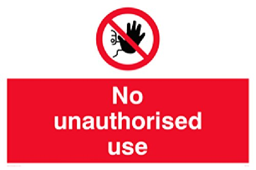"Viking Signs PM5700-A3L-3M""No Unauthorised Use"" Sign, 3 mm Rigid Plastic, 300 mm H x 400 mm W from Viking Signs"