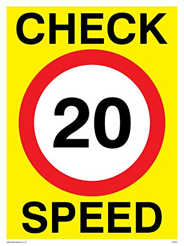 "Viking Signs PR547-A5P-V ""Check 20 Speed"" Sign, Vinyl, 200 mm H x 150 mm W from Viking Signs"