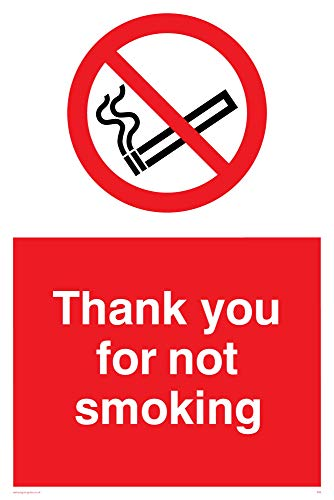 "Viking Signs PS6-A4P-V""Thank You For Not Smoking"" Sign, Vinyl, 300 mm H x 200 mm W from Viking Signs"