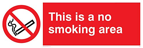 "Viking Signs PS9-L31-V ""This Is A No Smoking Area"" Sign, Vinyl, 100 mm H x 300 mm W from Viking Signs"
