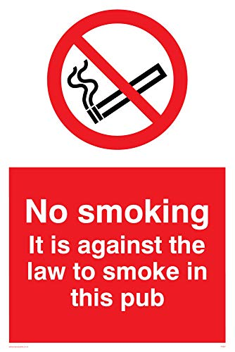 "Viking Signs PS987-A4P-V""No Smoking. It Is Against The Law To Smoke In This Pub"" Sign, Vinyl, 300 mm H x 200 mm W from Viking Signs"