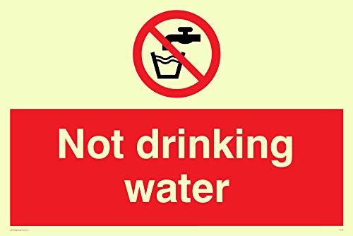 "Viking Signs PV48-A5L-PV ""Not Drinking Water"" Sign, Sticker, Photoluminescent, 150 mm H x 200 mm W from Viking Signs"