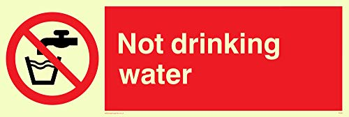 "Viking Signs PV48-L31-P ""Not Drinking Water"" Sign, Plastic, Semi-Rigid Photoluminescent, 100 mm H x 300 mm W from Viking Signs"