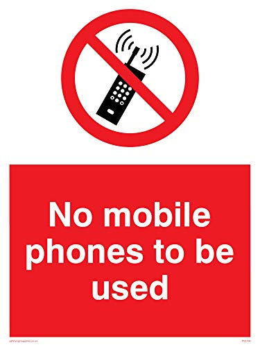 "Viking Signs PV5100-A5P-V ""No Mobile Phones To Be Used"" Sign, Vinyl, 200 mm H x 150 mm W from Viking Signs"
