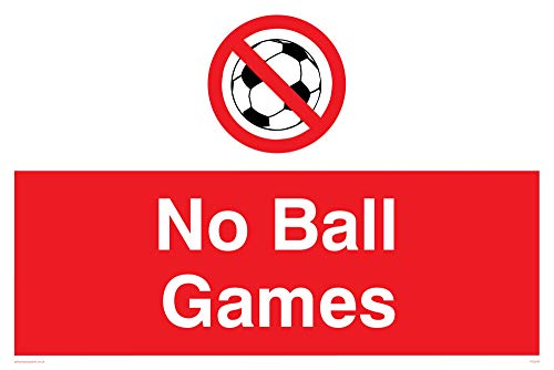 "Viking Signs PV5245-A2L-3M""No Ball Games"" Sign, Plastic, 3 mm Rigid, 400 mm H x 600 mm W from Viking Signs"