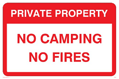 "Viking Signs PV5538-A2L-1M""Private Property No Camping No Fires"" Sign, 1 mm Semi-Rigid Plastic, 400 mm H x 600 mm W from Viking Signs"