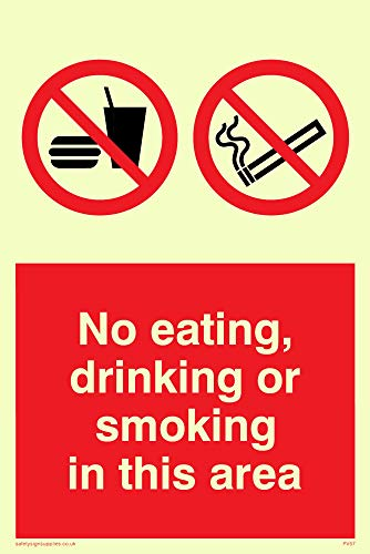 "Viking Signs PV57-A6P-PV ""No Eating, Drinking Or Smoking In This Area"" Sign, Photoluminescent Sticker, 150 mm H x 100 mm W from Viking Signs"