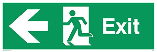 "Viking Signs SB442-L62-AC""Exit"" Sign, Left Arrow, Aluminium Composite, 200 mm H x 600 mm W from Viking Signs"