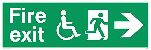 "Viking Signs SD953-L62-3M Disability""Fire Exit"" Sign, Right Arrow, 3 mm Rigid Plastic, 200 mm H x 600 mm W from Viking Signs"