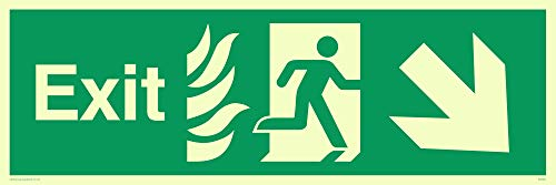 "Viking Signs SG687-L62-P Fire""Exit"" Sign, Right Down Arrow, Semi-rigid Photo luminescent Plastic, 200 mm H x 600 mm W from Viking Signs"