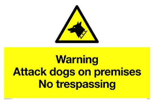 "Viking Signs WA5319-A2L-3D""Warning Attack Dogs on Premises No Trespassing"" Sign, 3 mm Double Sided Rigid PVC, 400 mm H x 600 mm W from Viking Signs"