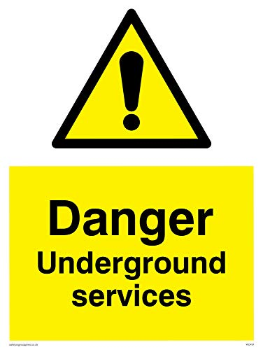 "Viking Signs WC491-A3P-1M""Danger Underground Services"" Sign, 1 mm Semi-Rigid Plastic, 400 mm H x 300 mm W from Viking Signs"