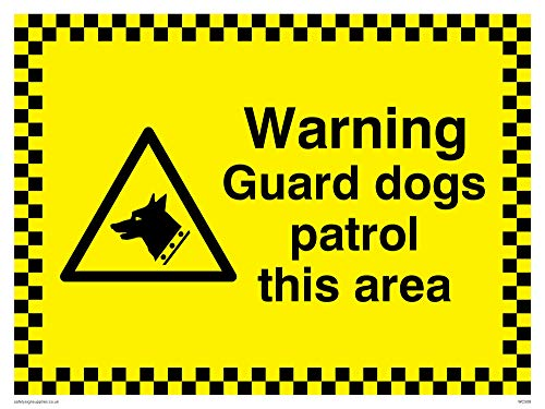 "Viking Signs WC508-A3L-V""Warning Guard Dogs Patrol This Area"" Sign, Vinyl, 300 mm H x 400 mm W from Viking Signs"