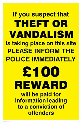 Viking Signs WC511-A4P-3M Theft Vandalism Inform Police Sign, 3 mm Rigid Plastic, 300 mm H x 200 mm W from Viking Signs